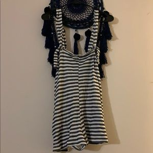 Free people striped overalls/romper